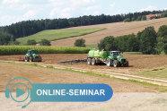 Traktoren mit Güllefass und Pflug auf einem Feld, Schriftzug Online-Seminar